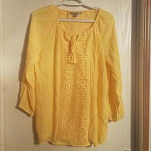 Valerie Stevens Women's Yellow Blouse, Sz Medium